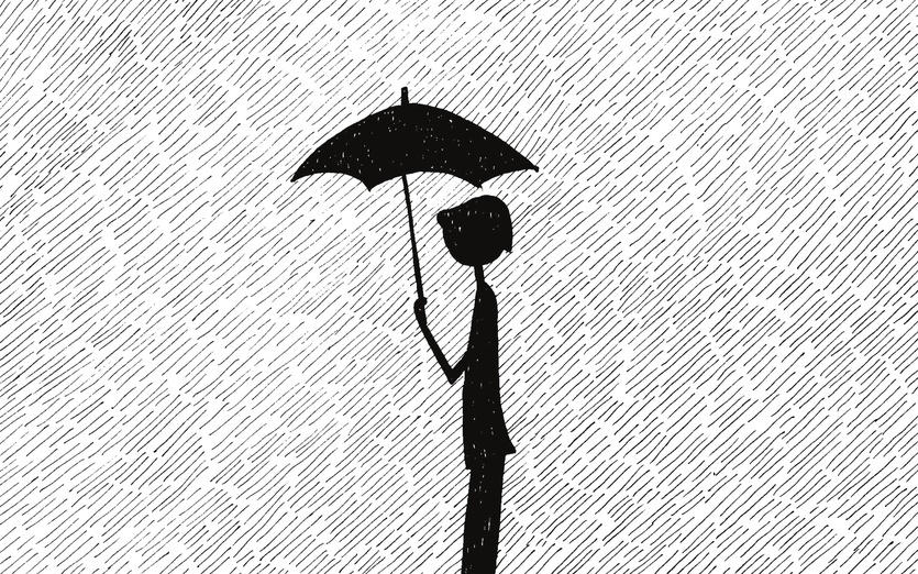 flapper, rain, umbrella, walking, woman