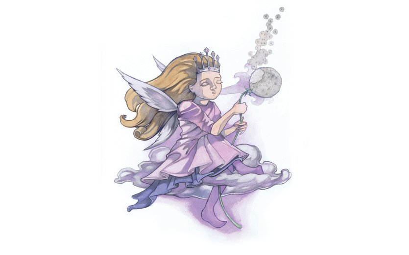 - cloud, fairy, flower, girl, magical, purple, sky