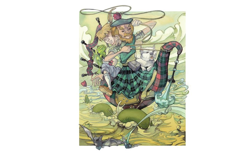 - bagpipe, colorful, colourful, monster, scotland, surreal, tartan