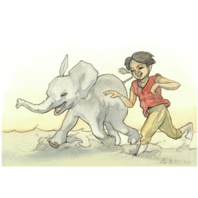 Boy running with Elephant