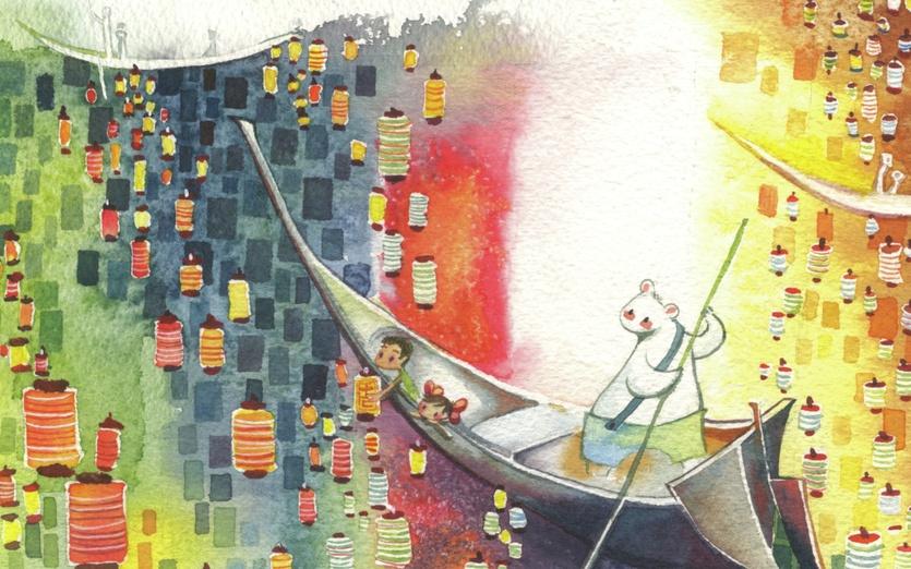 - adorable, bear, blue, boat, cartoon, cartoony, colored