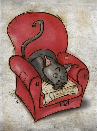 Black sleepy cat