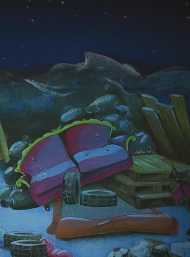 Junkyard in the moonlight