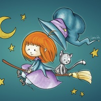 Little witch on her broom