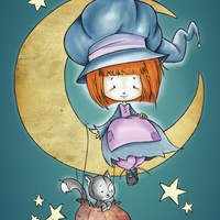 Little witch on the moon