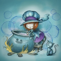 Little witch with cauldron