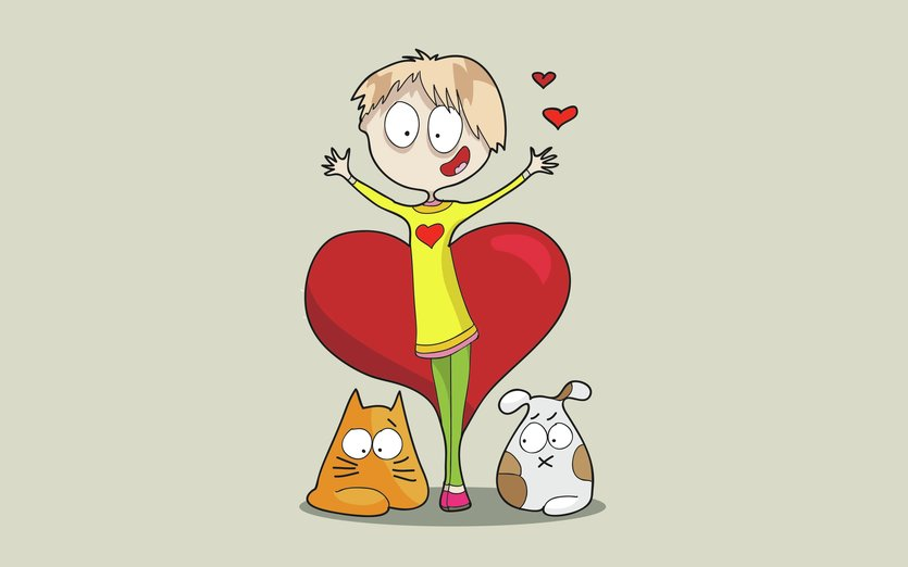 I love you this very much... - cat, cute, dog, funny, girl, heart, love