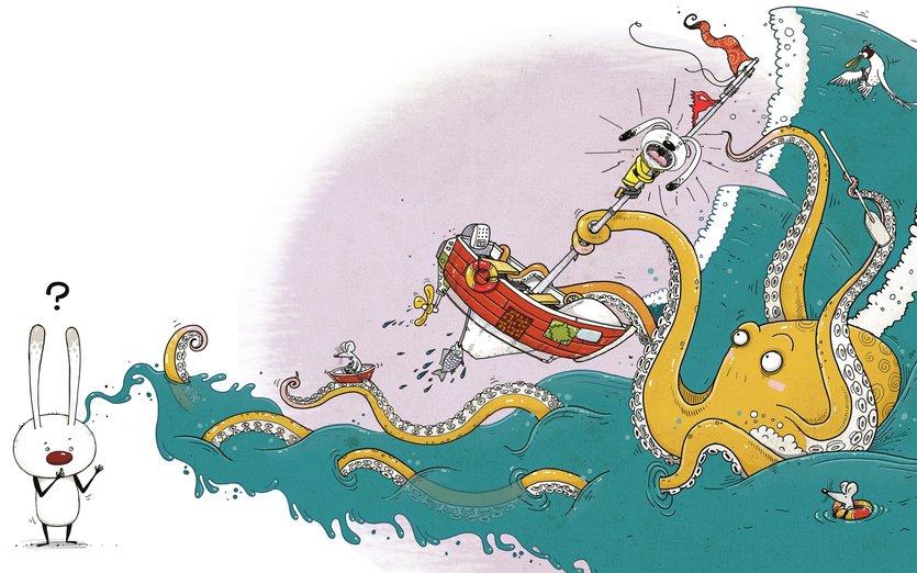 - boat, mice, octopus, rabbit, sea, seagull, shipwreck