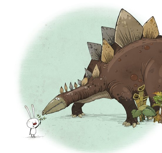 - dinosaur, friends, prehistoric, rabbit