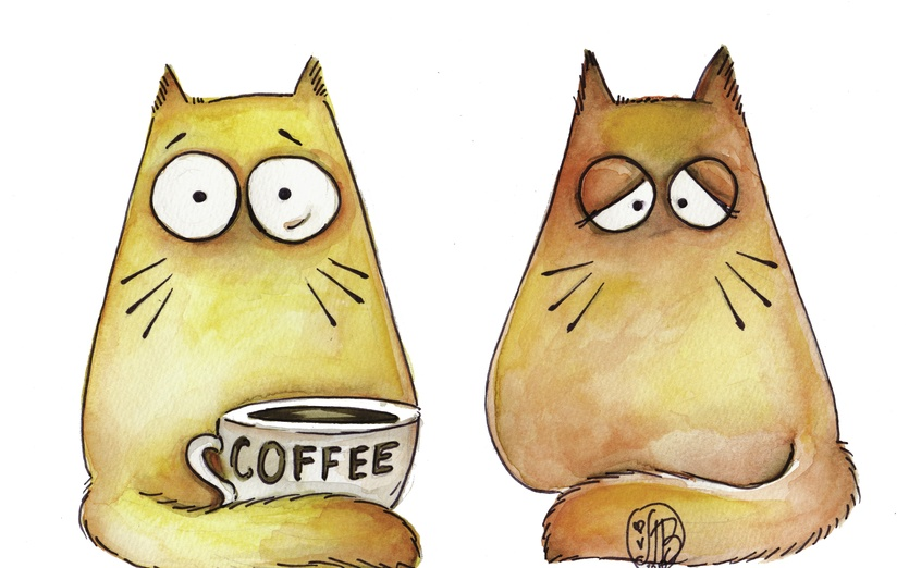 COFFEE!!! - adorable, animal, asleep, awake, bigeyes, brown, cartoon