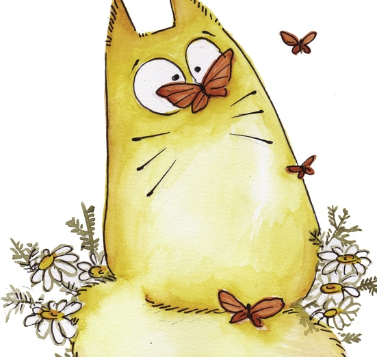 Did it a brought a smile to your face? - adorable, animal, beige, bigeyes, butterflies, butterfly, cartoon