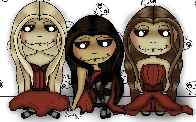 - beige, black, characters, colored, creepy, dark, darkness