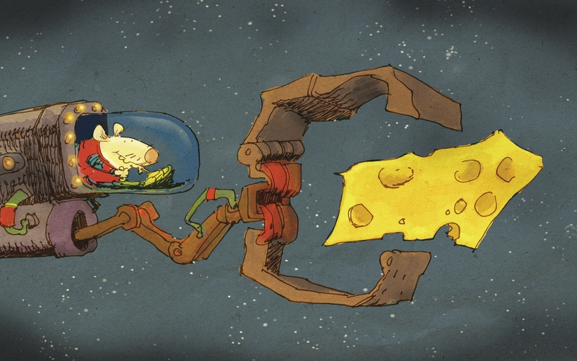 Finding good quality cheese in space is rare. Grab them while you can! - cheese, grabber, mice, spaceship