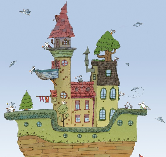 - airship, flight, floating, flying, house, mice, mouse