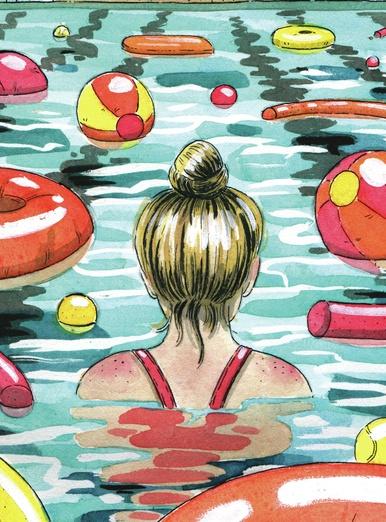 - adorable, art, back, bathing, blue, cartoon, cartoony