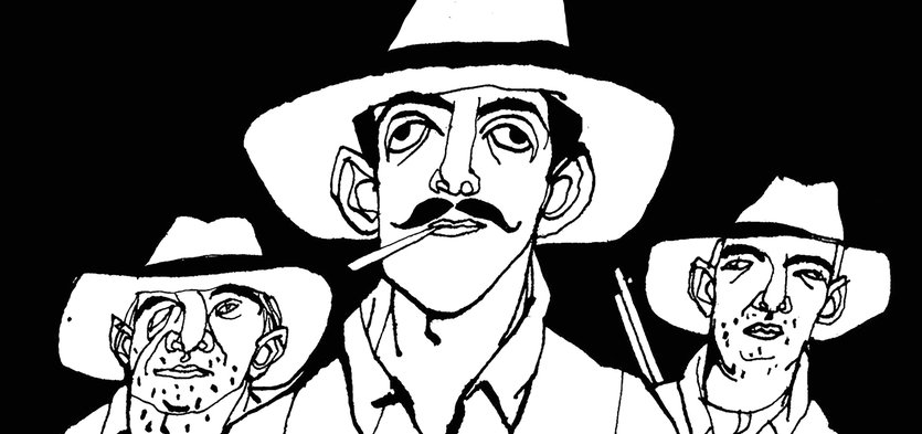 - bandits, dangerous, explorers, gun, hats, men, three