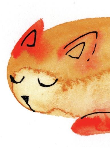 watercolor cat_001 sleeping