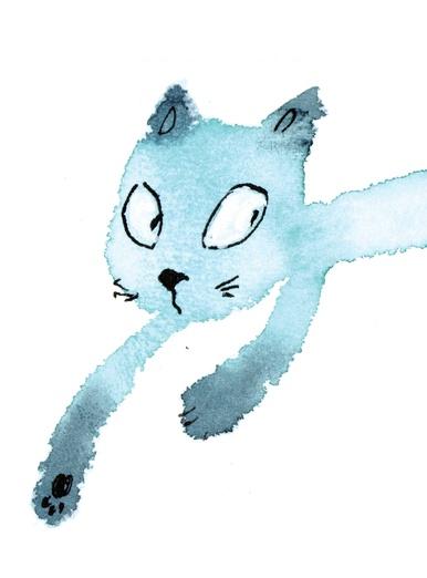 watercolor cat_003 long tail