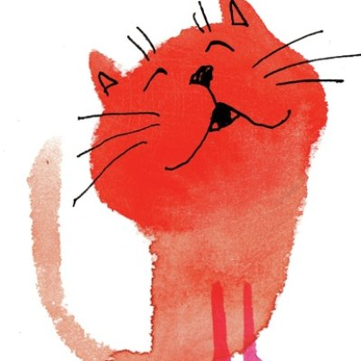watercolor cat_002 red