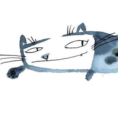 watercolor cat_004 square