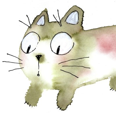 watercolor cat_005 spotty