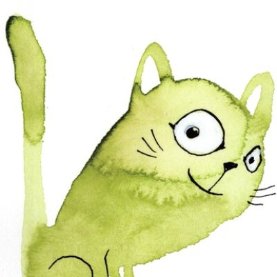 watercolor cat_006 green
