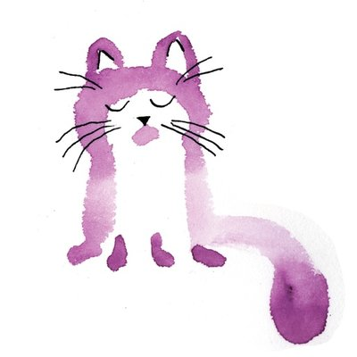 watercolor cat_008 violet