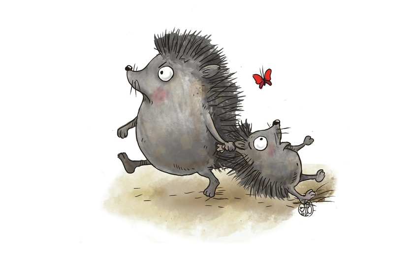 Cute baby hedgehog bein dragged by mommie for not listening. Butterfly watches the scene. - adorable, baby, beige, brightcolored, brightcolors, brown, butterfly