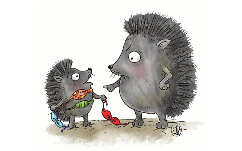 Funny young hedgehog playing dress up with with bikini not suitable for weather so mommy argues. - adorable, beige, bikini, brightcolored, brightcolors, cartoon, cartoony