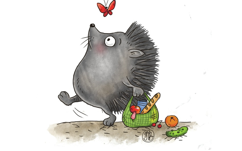 Mama hedgehog while walking home with her shopping bag is wishing she could fly like a butterfly. - adorable, beige, butterfly, cartoon, cartoony, character, colored