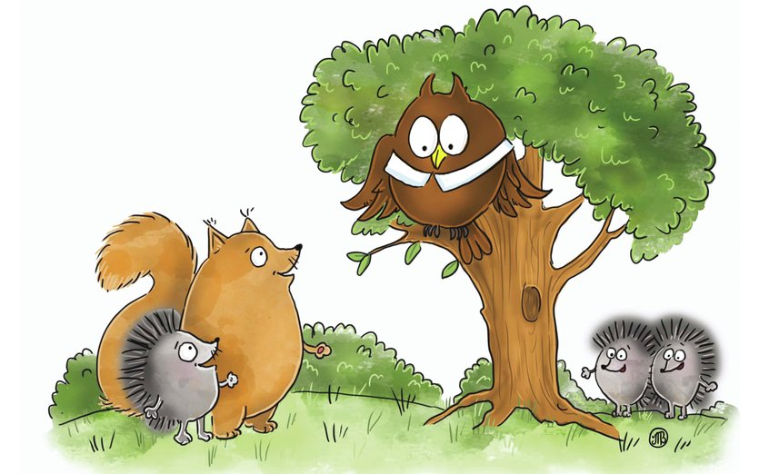 - animals, forest, funny, games, hedgehog, house, kids