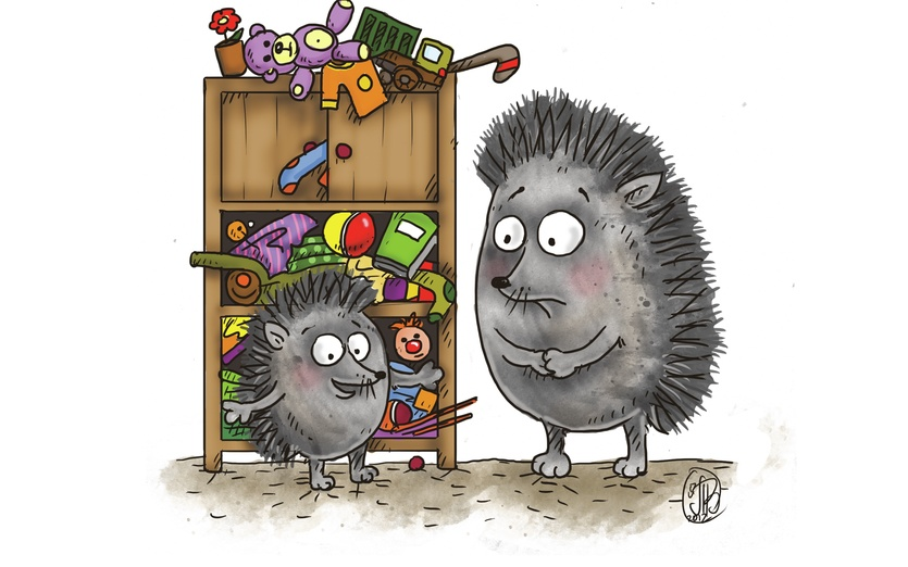 Young hedgehog has cleaned her bedroom and stuffed everything in the closet, it is almost exploding... - adorable, bedroom, brown, cartoon, cartoony, characters, cheerful