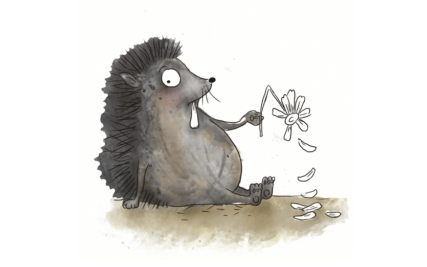 "Cute hedgehog in love, playing ""she loves me, she loves me not"" - adorable, beige, brightcolored, brightcolors, cartoon, cartoony, character"