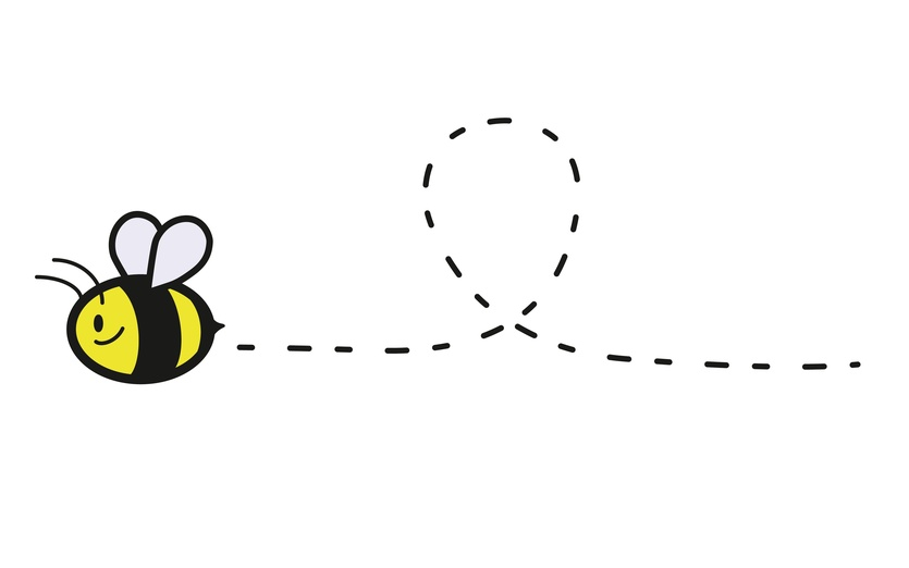 Just a small little bee, flying from flower to flower to collect its honey.  - adorable, adorbs, air, animal, bee, black, blue