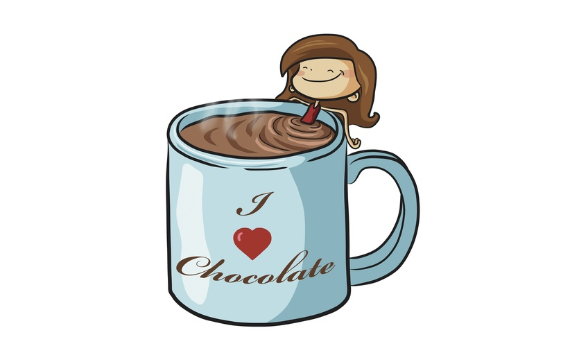 Mmmm, hot chocolate. So yummy I could take a bath in it. - adorable, alone, bathing, black, blue, brightcolored, brightcolors