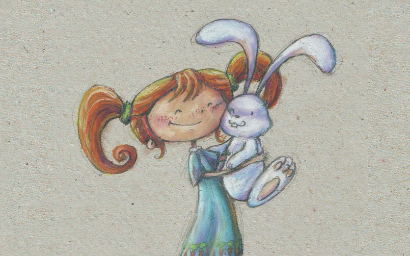 Everyone deserves a hug! Especially rabbits 'cause they're so nice and fluffy! - adorable, affection, animal, beige, blue, brown, bunny
