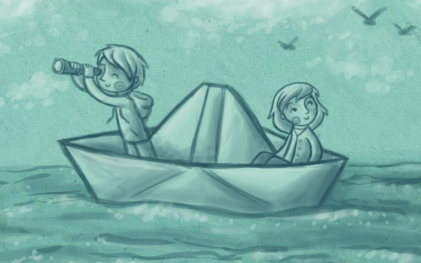 Where are these two kids off to on their paper boat? Do you know? - adorable, adventure, binocular, birds, blue, boat, boy