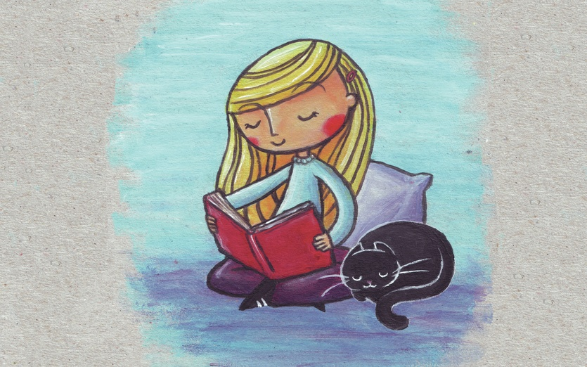 A girl enjoying reading her book, while her cat sleeps peacefully next to her. - adorable, black, blue, book, calm, cartoon, cartoony