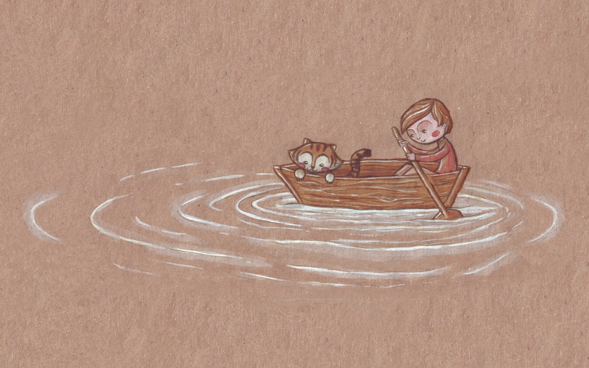 A boy and his best friend the Tiger go on a little boat trip together. Where will they end up, who will they meet?  - adorable, animal, beige, boat, bordeaux, boy, brown