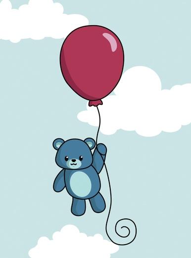 Teddy on balloon