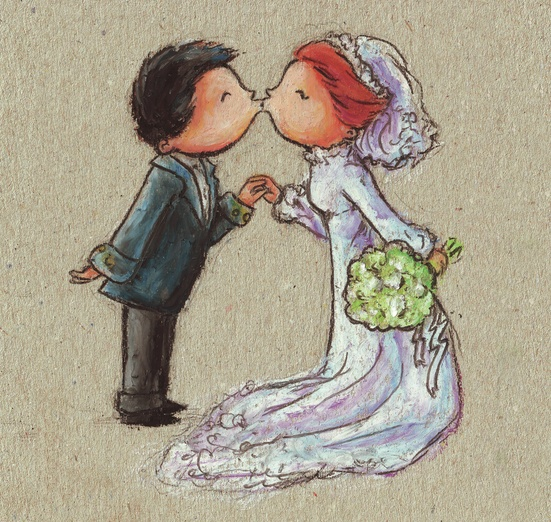 You may now kiss your wife! =) - adorable, blue, bouquet, cartoon, cartoony, characters, colored