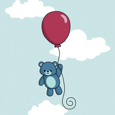 Teddy on balloon
