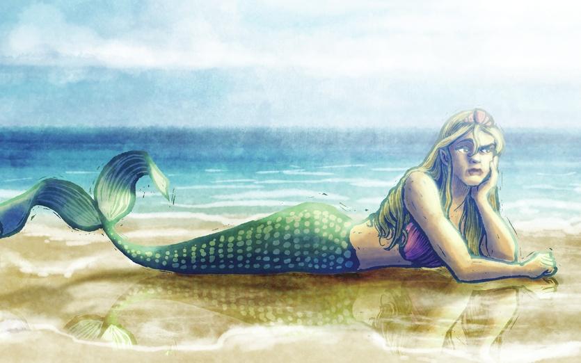 - beach, blue, cartoon, cartoony, clouds, colored, colorful