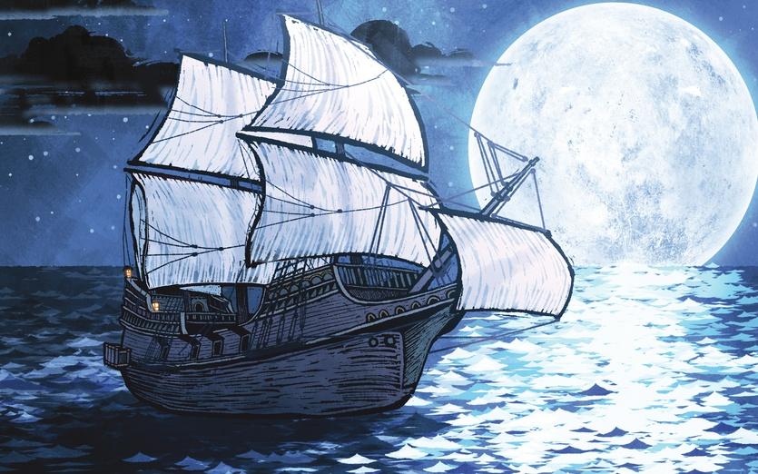 - black, blue, boat, cartoon, cartoony, clouds, colored