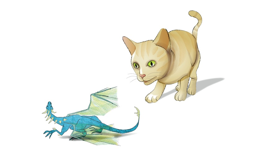 One day Smidge found a tiny dragon in the kitchen, will they be friends...? - animals, beige, blue, cat, digitalart, dragon, fantasy