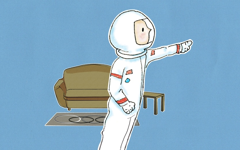 - astronaut, blue, boy, brown, carpet, character, colored