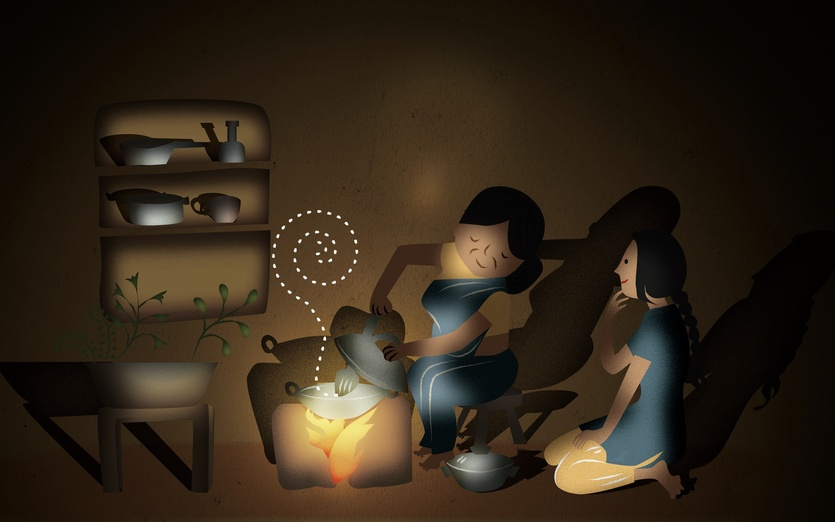 Minu loved watching her Mum cooking on the clay oven - blue, brown, colored, colorful, colors, cooking, dark
