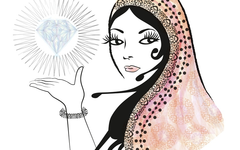 This is my other style of drawing, I hope you like it! - beautiful, black, bracelet, charming, crystal, diamond, digitalart
