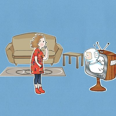 Astronaut in the TV