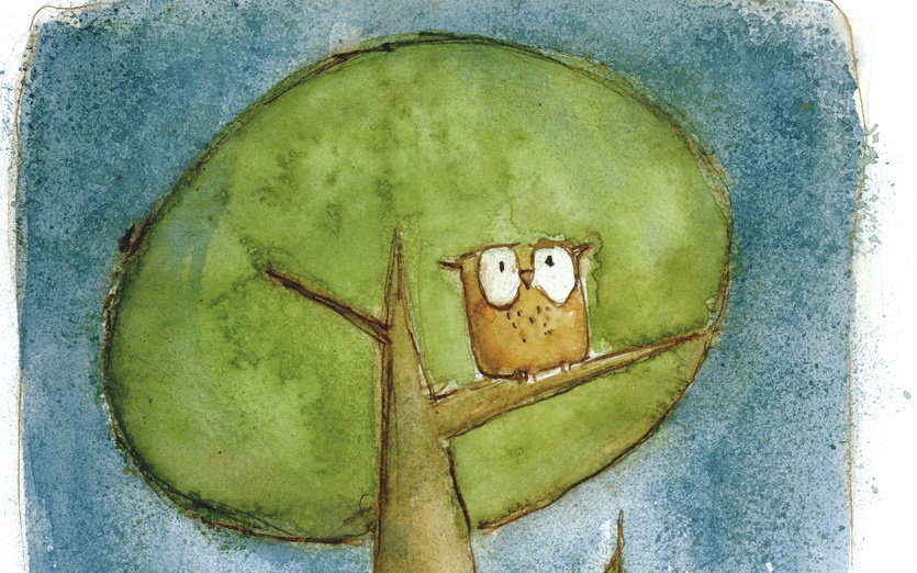 - adorable, beige, blue, branch, brown, cartoon, cartoony